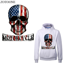 ZOTOONE Skull Patch Iron on US Flag Patches Diy Child T-shirt Thermal Transfer Motorcycle for Clothing Heat Press E