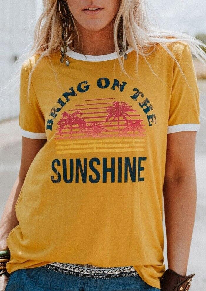 Plus Größe Frauen T-Shirt Sommer Kurzarm tops t Bringen Auf Die Sonnenschein T-Shirt 2018 Femme Harajuku t shirt Damen tops T