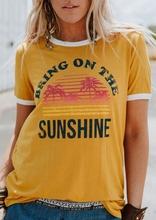 Plus rozmiar kobiet T-Shirt lato z krótkim rękawem topy tee przynieść na słońcu T-Shirt 2018 Femme Harajuku t shirt bluzki damskie Tee tanie tanio FAIRY SEASON Poliester NONE Suknem Na co dzień Tees List REGULAR Bring On The Sunshine T-Shirt Kobiety O-neck