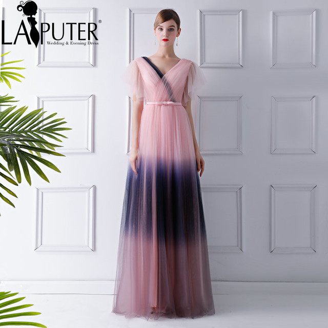 4d4051df27 US $155.0 |LAIPUTER New Arrival Long Gradient Chiffon Prom Dress V neck A  line Cap Sleeves Belt Ruffles Evening Party Gown -in Evening Dresses from  ...