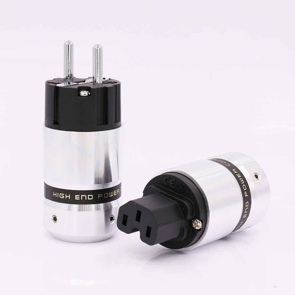 Hi-End  Rhodium Plated Schuko Power Plug IEC Connector For DIY Mains Power Cable