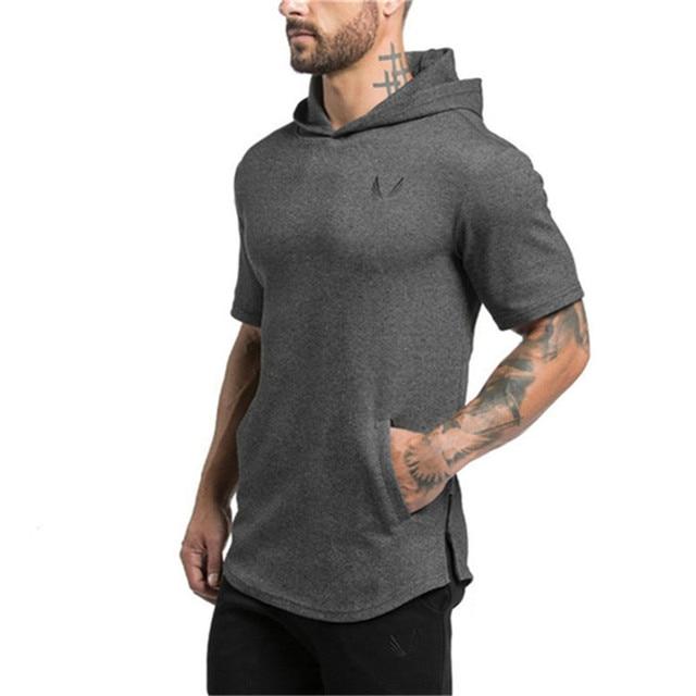 427a0a25 Men Short sleeves Sport Training hoodies pullover Gym fitness jacket  Sweatshirt Bodybuilding sportswear clothing black top coat