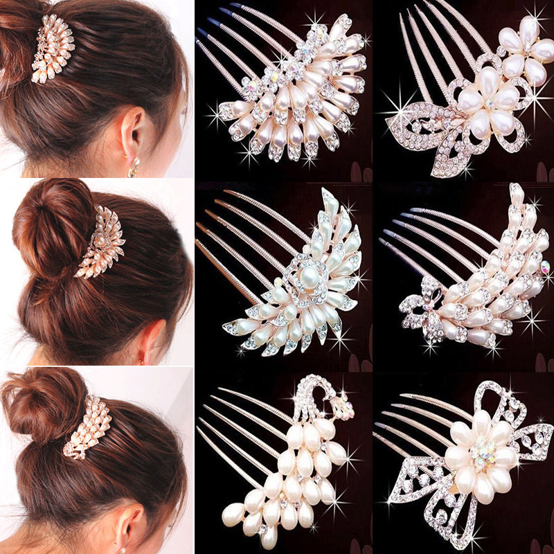 LNRRABC Rhinestones Women Bridal Hairpin Headdress Simulated Pearl Hair Accessories For Weddings Crystal Hair Comb Jewelry