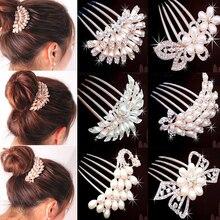 LNRRABC Rhinestones Women Bridal Hairpin Headdress Simulated Pearl Hair Accessories For Weddings Crystal Hair Comb Jewelry