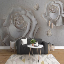 цена на Photo Wallpaper 3D Stereo Relief Rose Flowers Murals Living Room TV Sofa Background Wall Painting Home Decor Papel De Parede 3 D