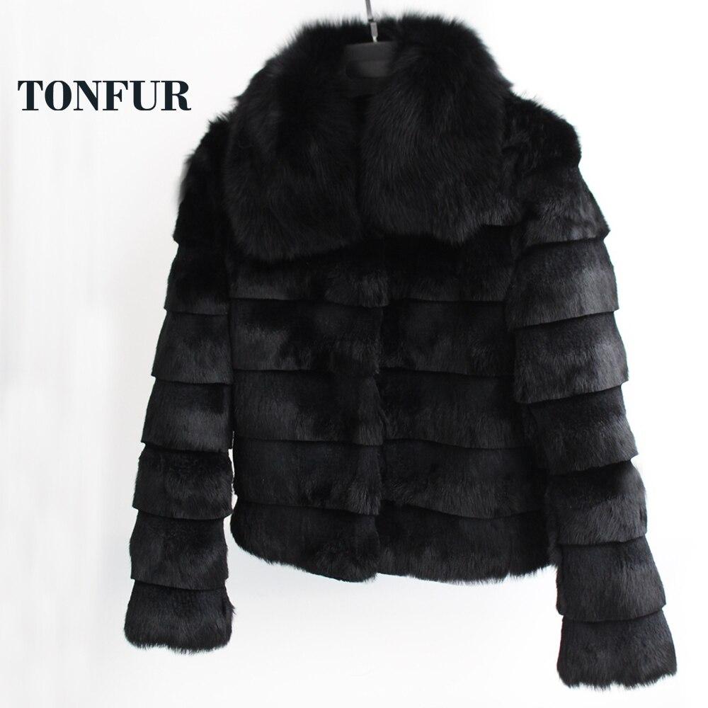 2019 Vintage pleine peau rayure fourrure coupe veste réel lapin manteau de fourrure avec véritable col de fourrure de renard bas Discount bonne qualité TSR180