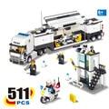 6727 Estación de Policía de Camiones Bloques Huecos de Ladrillos de Aprendizaje y Educación Juguetes Para Niños brinquedos educativos leping