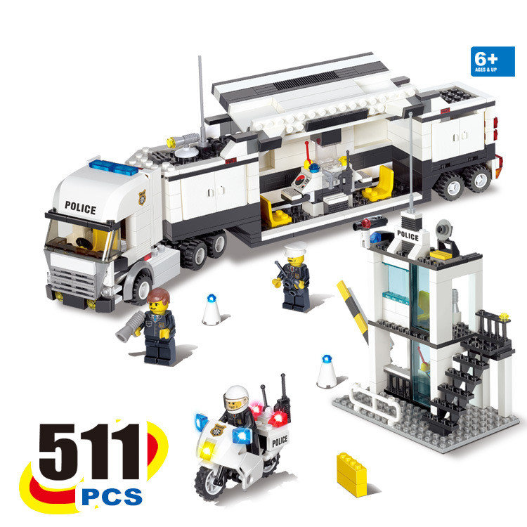 KAZI 2017 New 6727 Police Station Truck Building Blocks Sets Bricks Learning & Education Toys For Children brinquedos educativos 6727 city street police station car truck building blocks bricks educational toys for children gift christmas legoings 511pcs