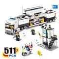 KAZI 2017 nueva 6727 estación de policía camión juegos de bloques de construcción ladrillos de aprendizaje y educación juguetes para niños brinquedos educativos