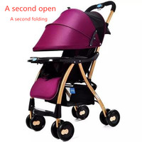 One button folding baby stroller light and handy folding umbrella car can sit or lie in winter and summer stroller