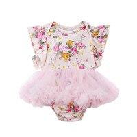 Pudcoco Newborn Infant Baby Girls Floral Bodysuit Sleeveless Flower Lace Bodysuits Jumpsuit Clothes Age 0-18M