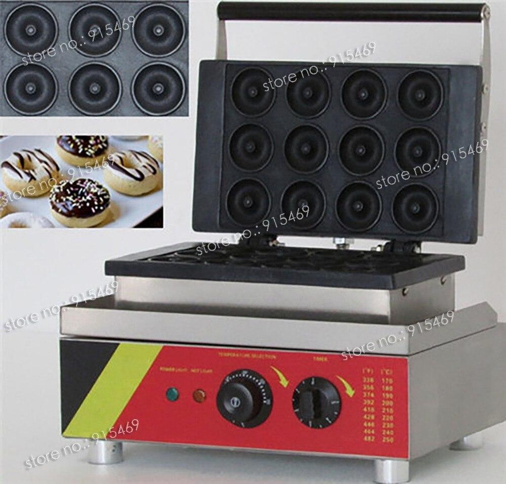Free Shipping Commercial Non-stick 110V 220V Electric 12pcs Mini Doughnut Donut Machine Maker Iron Baker 110v 220v automatic donut making machines with 3 mold free shipping