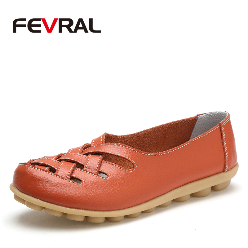 FEVRAL Fashion Woman Female Shoes Flats Girl Sandals Rubber Spring Round Toe Split Cow Leather Slip On Comfortable Shoes Woman