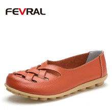 FEVRAL Fashion Woman Female Shoes Flats Girl Sandals Rubber Spring Round Toe Split Cow Leather Slip On Comfortable Shoes Woman(China)