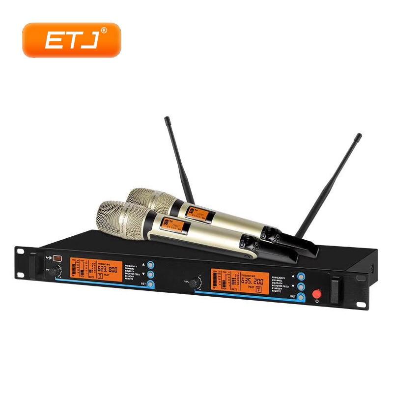 Livraison gratuite! Système de micro de Microphone sans fil UHF double canaux 2 X-1090 de Microphone de casque tenu dans la main