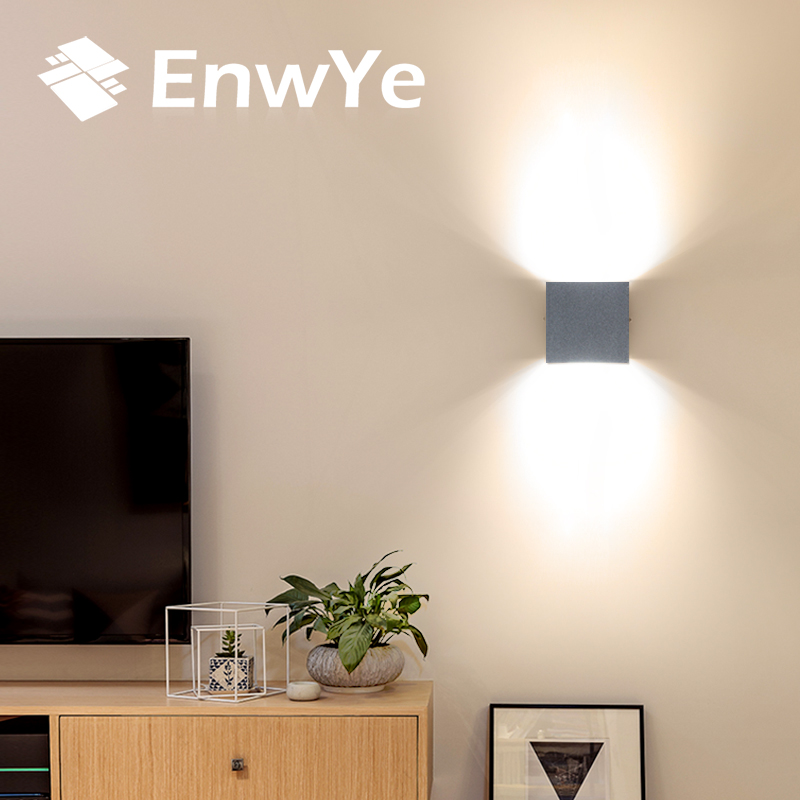 EnwYe 5pcs 12W LED Aluminium wall light rail project Square LED wall lamp bedside room bedroom wall lamps arts