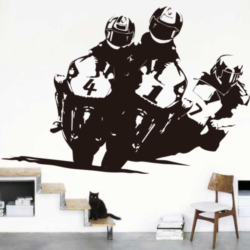 Race Motorcycle Games Wall Stickers 150cmx100cm Motocross Wall Decals Race Motorcycle Mural Creative Cut Vinyl Easy Removable ...