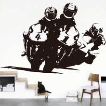 Carrera de Motos Juegos de Pegatinas de Pared 150 cm x 100 cm Motocross Motocicleta Raza Mural Tatuajes de Pared Creativo Vinilo De Corte Fácil extraíble