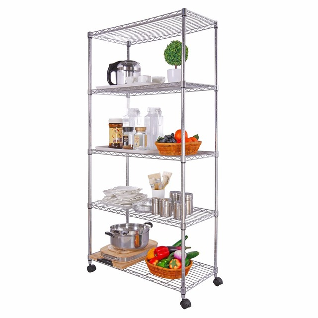 Lifewit 5 Tiers  Rack Storage Organization Rack Shelving Wire Shelving Unit on Wheels Pantry Storage 440lbs Weight Capacity