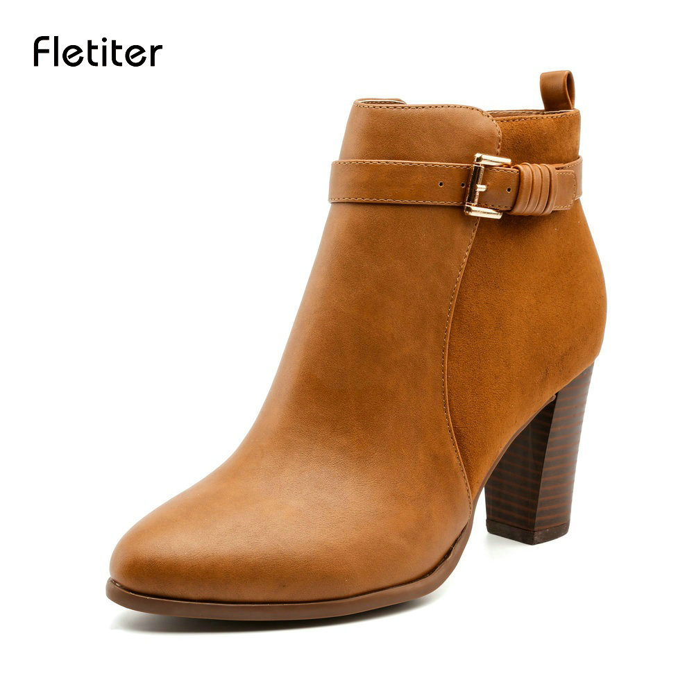 Fletiter Autumn Winter Women Boots Casual Ladies shoes Martin boots Suede Leather ankle boots High heeled zipper Snow boots autumn winter women martin snow boots