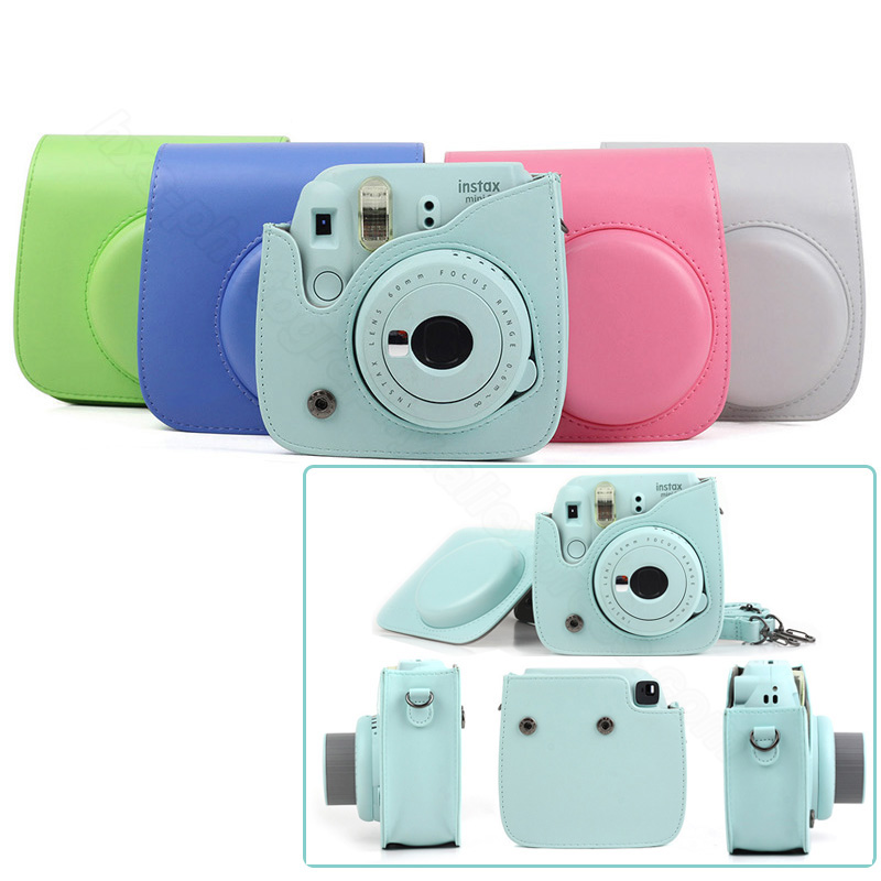 цена на Quality PU Leather Camera Case for Fujifilm Instax Mini 9 Mini 8 Instant Film Camera, 5 Colors Protector Bag with Shoulder Strap