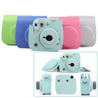 Quality PU Leather Camera Case for Fujifilm Instax Mini 9 Mini 8 Instant Film Camera, 5 Colors Protector Bag with Shoulder Strap