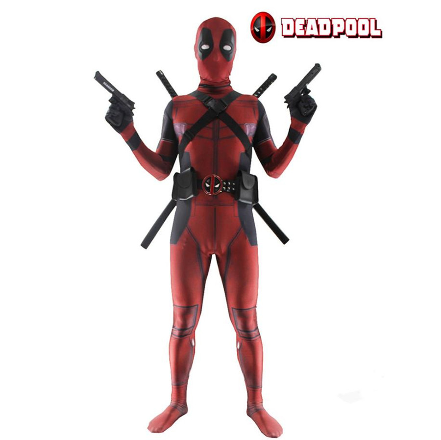 Homem Adulto Traje Deadpool Spandex Lycra Zentai Bodysuit Halloween Cosplay  Terno Cinto Headwear Máscara Espada coldre em Fantasias Masculinas Do Filme  E TV ... 8f286bff4011