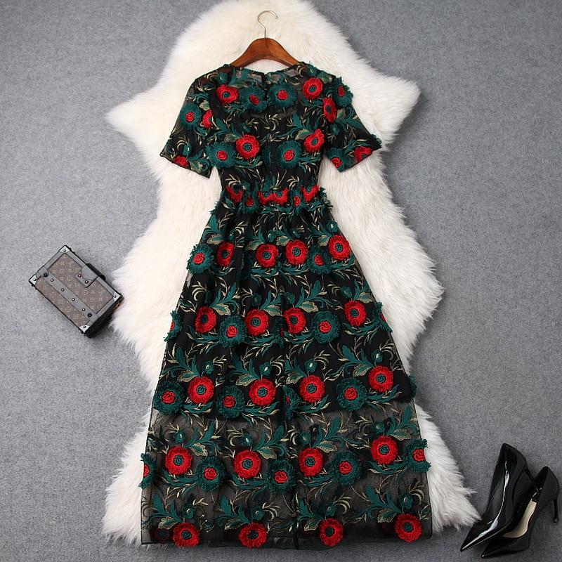 52a7ddd316b Courtes Printemps D été 2019 Manches Midi O cou Rétro Parti Luxe Top  Allover Nouvelle Vintage De Femmes Qualité Broderie Robe qtOBwB