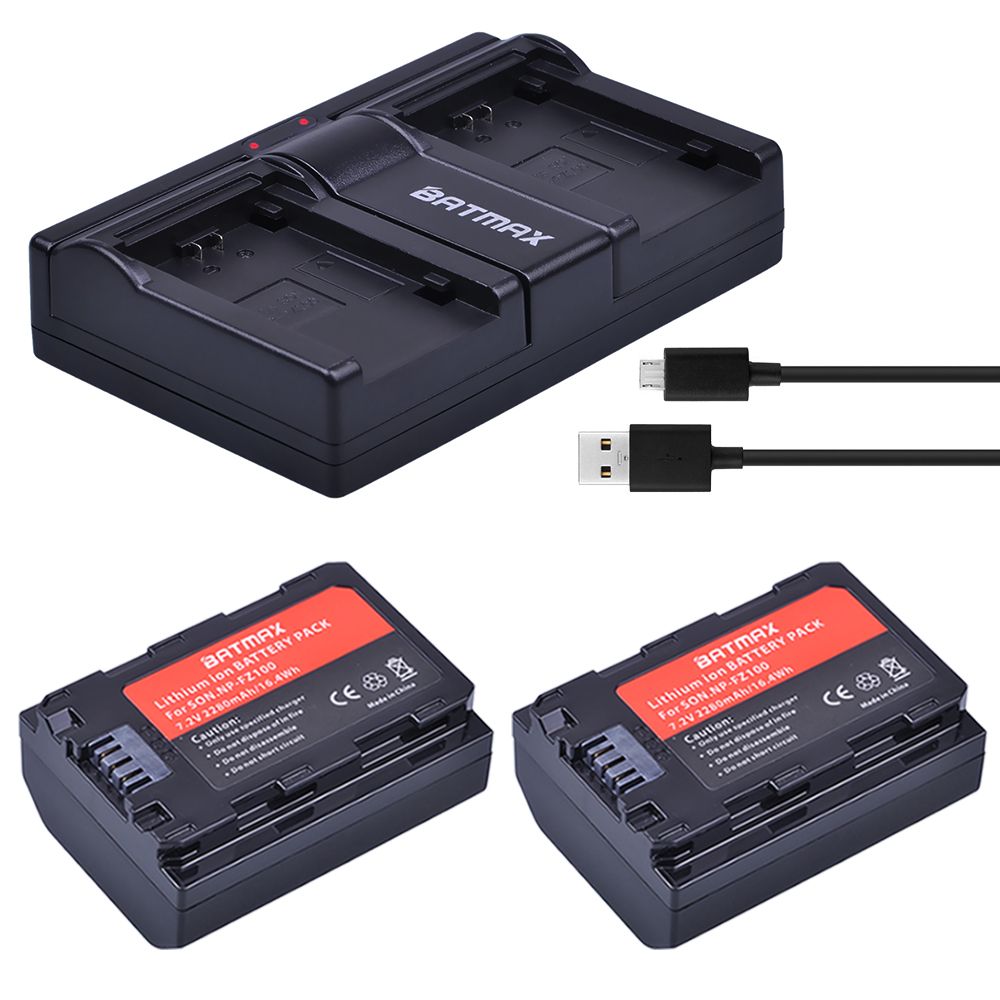 2Pc 2280mAh NP FZ100 Battery NPFZ100 NP-FZ100 Battery + USB Dual Charger for Sony NP FZ100 Battery Sony A9, A7R III, A7 III Cam durapro 4pcs np f970 np f960 npf960 npf970 battery lcd fast dual charger for sony hvr hd1000 v1j ccd trv26e dcr tr8000 plm a55