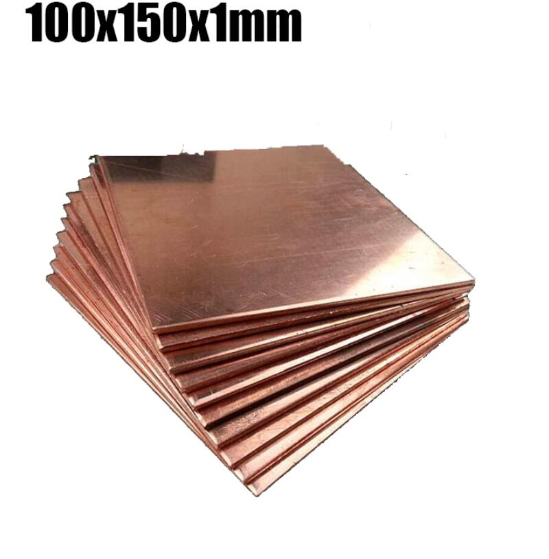 100x150x1mm Diy Material Red Copper Bar Plate Thin Plate