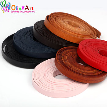 OlingArt 10*2mm 1Yard/lot multiple Colour Flat Leather Rope/Cords DIY necklace Bracelet earrings choker jewelry making New