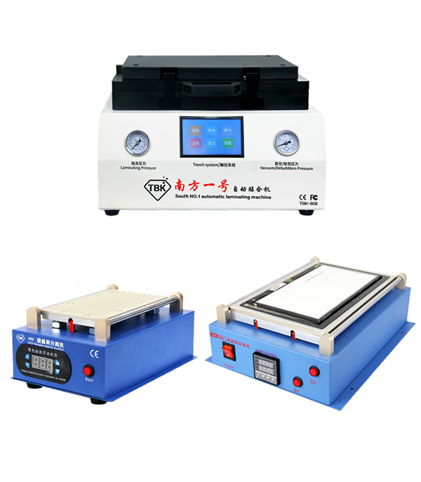 TBK LCD repair equipment tbk-808 OCA Vacuum Laminator Machine+ 14 inch separtor machine+ 7 inch separtor machine built-in vacuum tbk lcd repair equipment oca vacuum laminator machine 3 in1 automatic oca film machine aluminum alloy automatic separator