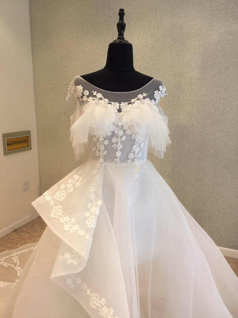 New Style Organza Wedding Dresses 2018 O Neck Lace Up Back A line ...