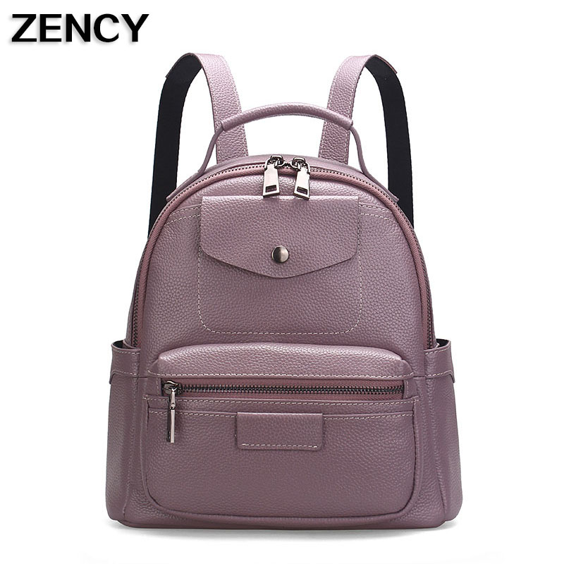 Zency Bag Genuine Leather Women's Backpacks Ladies Young Girl's Backpack Top Layer Cowhide School Bag Mochila zency genuine leather backpacks female girls women backpack top layer cowhide school bag gray black pink purple black color