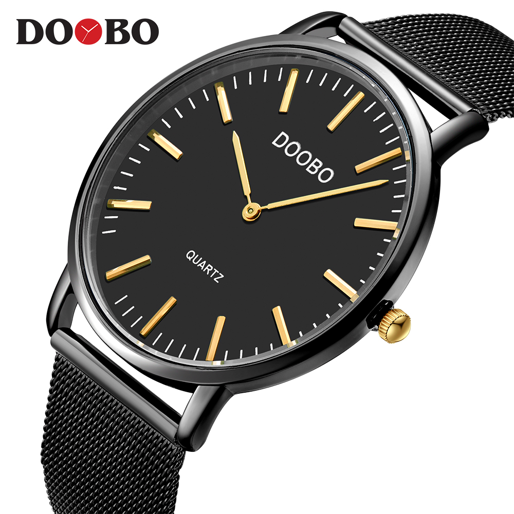DOOBO Top Luxury Brand Quartz Watch Men Casual Gold Black Simple Quartz-Watch Stainless Steel Mesh Strap Ultra Thin Clock Male