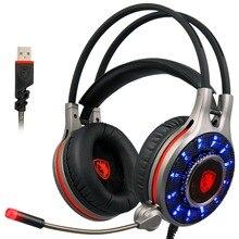 Nova SADES R11 USB Gaming Headset Fone de Ouvido Over-ear Fone De Ouvido de 7.1 Canais Som Surround Graves Agudos DIODO EMISSOR de Luz com Microfone para PC computador