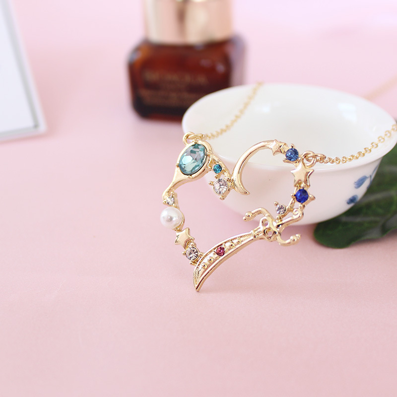 Green Crystal Imitation Pearl Gold Color Chain Comb Mirror Heart Shape Pendant Short Sailor Moon Necklace