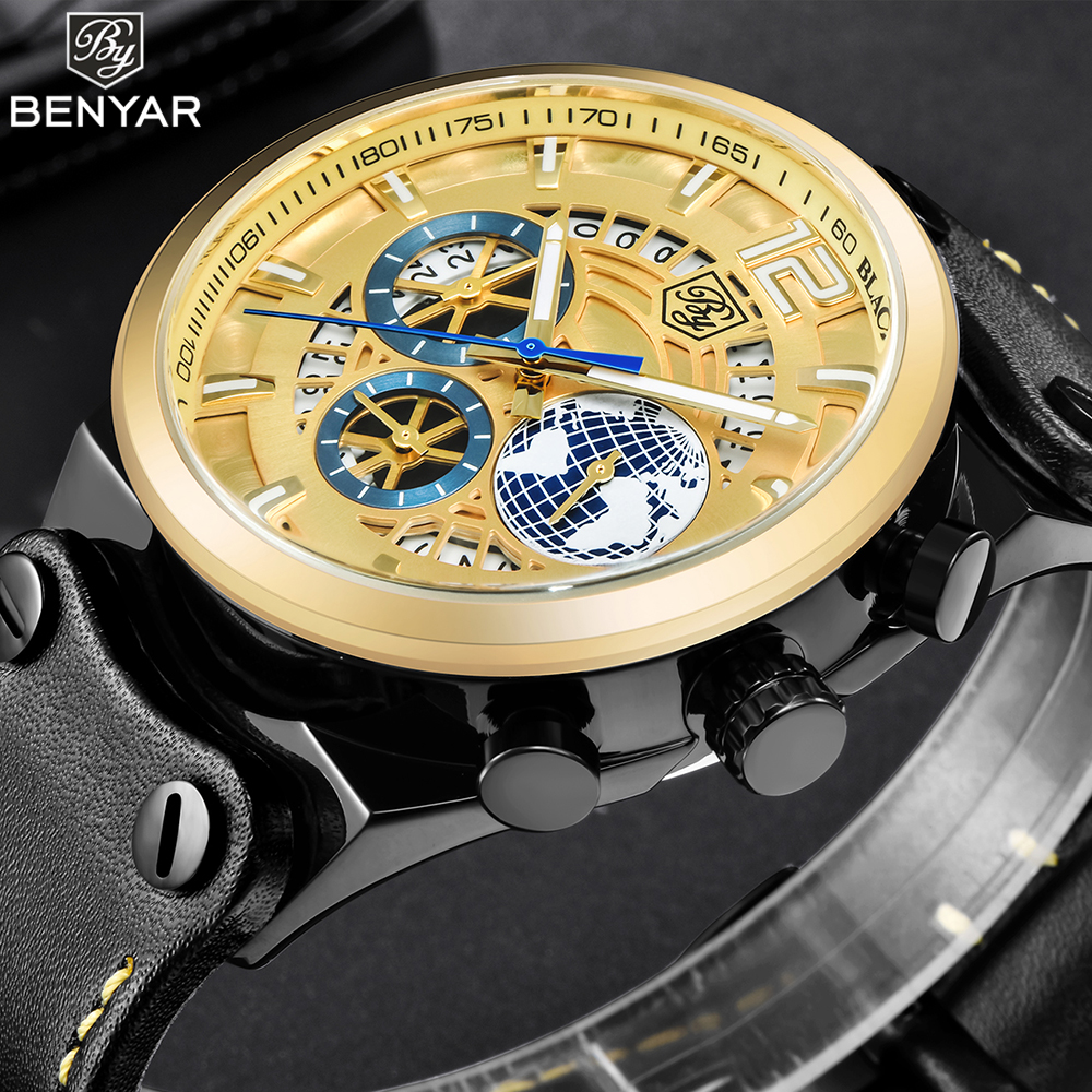 BENYAR Mens Watches 2018 Brand Luxury Gold Watch Men Big Dial Quartz Leather Band Waterproof Military Sport Watch WristWatch New цена