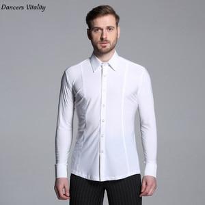 Image 3 - 2017 männer reine farbe Latin Dance Lange Ärmel Shirts Moderne Cha cha Dance Walzer Latin Dance Männer Moderne wettbewerb Kleid