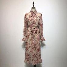 b05bef317b 2019 wiosna new vintage elegancki kwiatowy kobiety sukienki długi ruffles  różowy slim lady sukienek wakacje szyfonowa sukienka