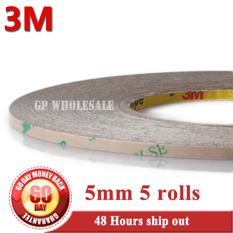 5x 5mm*55M*0.17mm (thick) 3M 9495LE 300LSE PET Super Strong Adhesion Double Sided Adhesive Tape for Phone LCD Frame Jointing 2rolls 1mm 5mm 5m strong pet adhesive pet red film clear double sided tape no trace for phone lcd screen free shipping