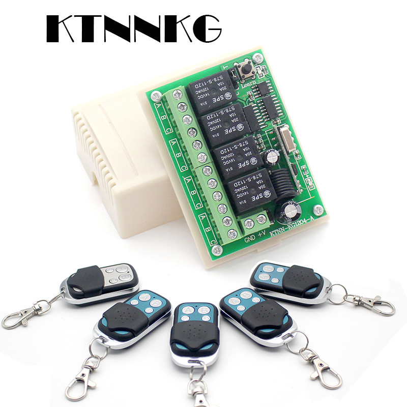 DC 12V 4 Gangs Relay Module 433mhz Receiver Wireless Remote Control Switch Motor Controller For Anti Theft Alarm With Jump Cap