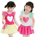 Girls Clothing Sets 2017 New Summer Girls clothes Print Heart Pattern Kids clothes T-shirt + Skirt sets Children clothing