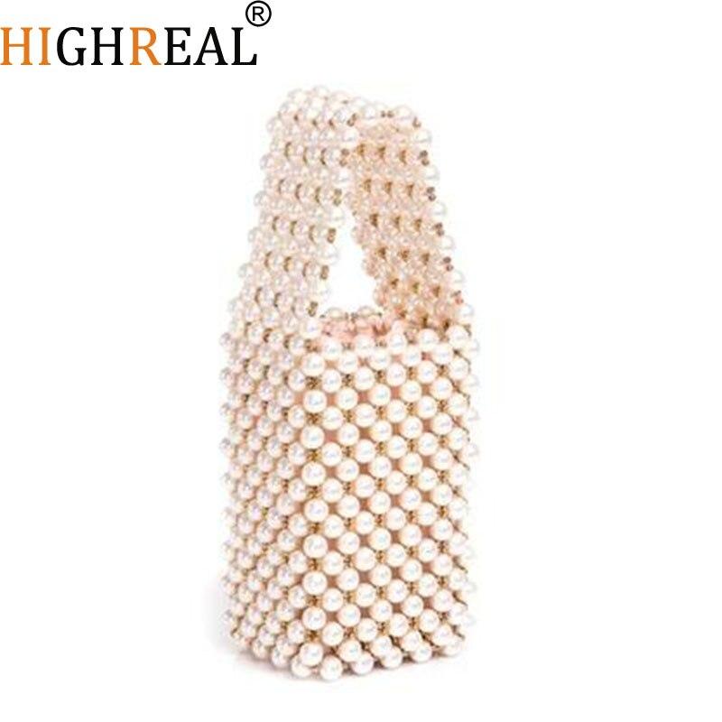 Sac à main femme élégant fait à la main Messenger sacs perle poignée sacs à main dames Designer chaîne sac à bandoulière évider sacs à bandoulière