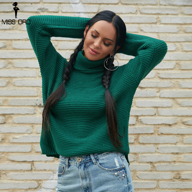 d93ff25b41a18e Missord 2018 Autumn and Winter Fashion High Neck Long Sleeve Green Color  Female Casual Top Pullover Knitted Sweater TB0105