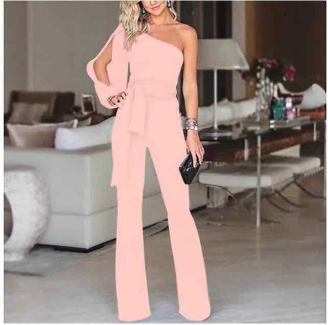 Летний женский модный офисный однотонный комбинезон, стильный черный комбинезон на одно плечо с разрезом на рукавах, праздничная одежда, большие размеры 2XL