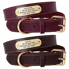 Genuine Leather Dog Collar Personalized Nameplate Collars Pitubull German Shepherd Large Dogs Tag Rich Brown