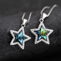 925 Sterling Silver A Áustria Colar Pingente de Cristal Estrela de Cinco Pontas