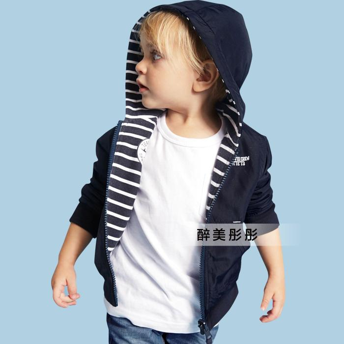 New 2015 spring autumn coat baby clothing boys jackets kids striped Both sides wear hooded jackets Casual children OUTERWEAR