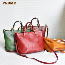 PNDME vintage fashion simple genuine leather ladies shoulder crossbody bags handmade soft cowhide designer womens handbag 2019